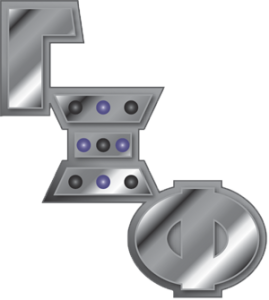 The Greek letters Gamma Xi Phi, descending from upper left to lower right. They are metallic silver with nine black and purple stones in the Xi..