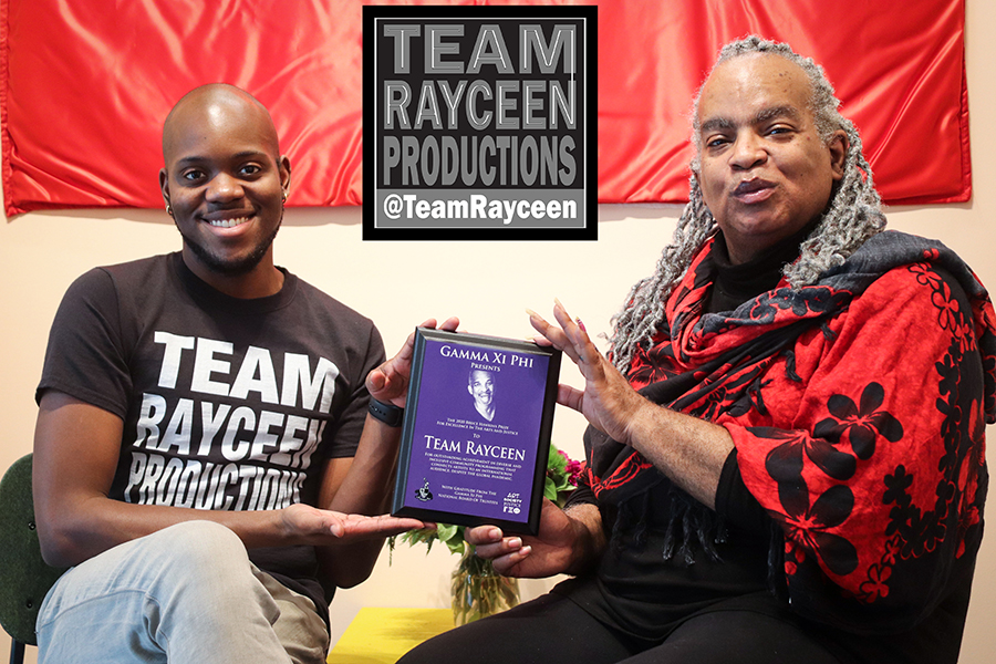 Krylios (left) and Rayceen Pendarvis, representatives of Team Rayceen, winners of the 2020 Bruce Hawkins Prize for Exellence in the Arts and Justice.